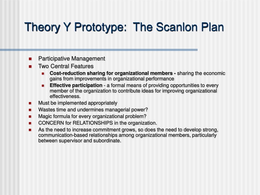 Theory Y Prototype:  The Scanlon Plan