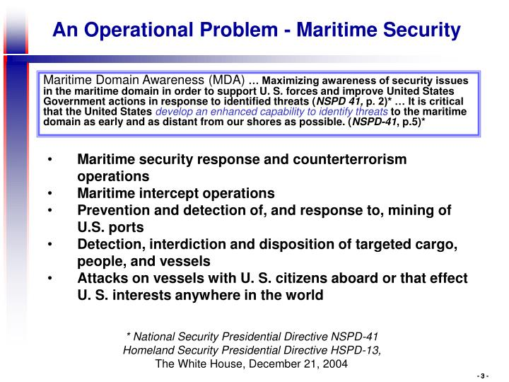 Maritime security response and counterterrorism operations