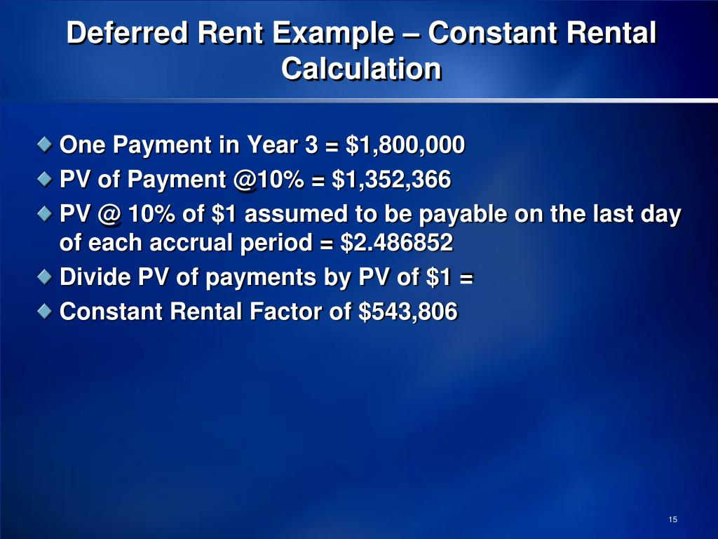 Deferred Rent Example – Constant Rental Calculation
