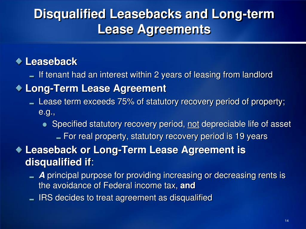 Disqualified Leasebacks and Long-term Lease Agreements