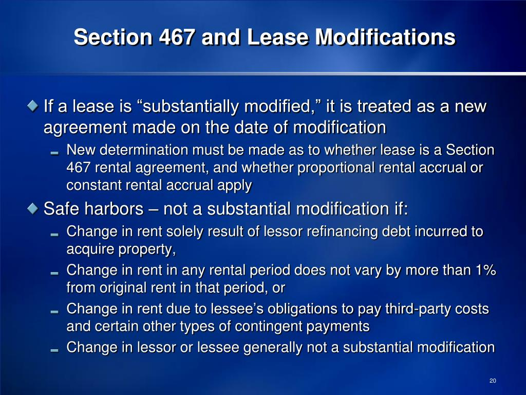 Section 467 and Lease Modifications