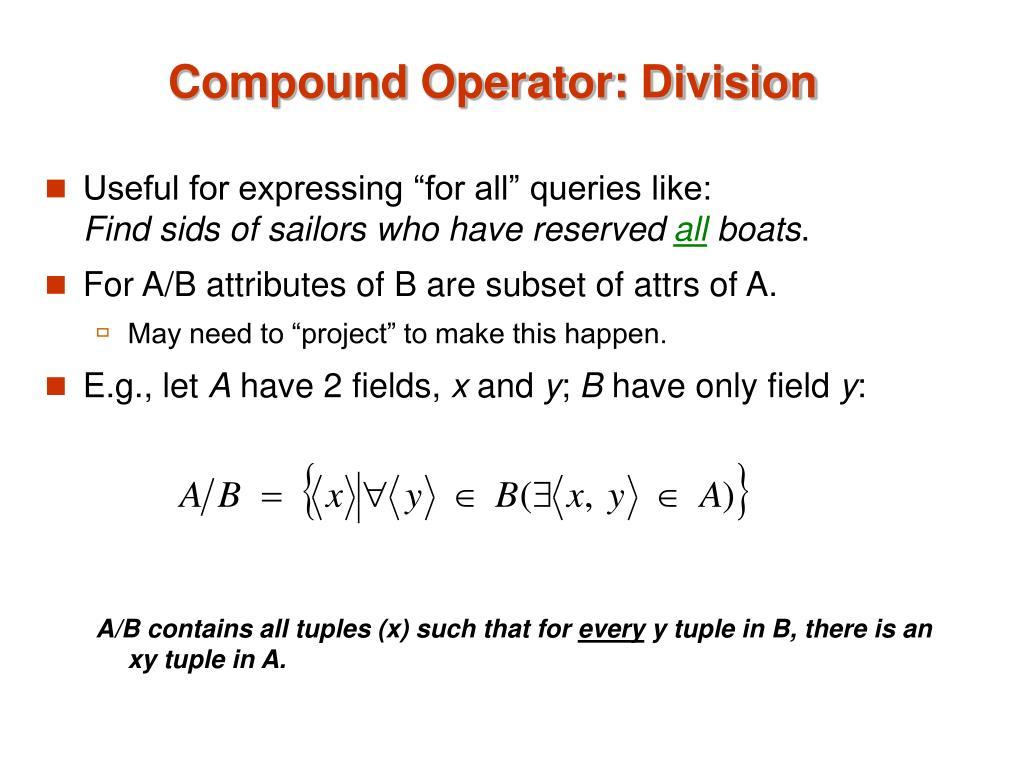 Compound Operator: Division