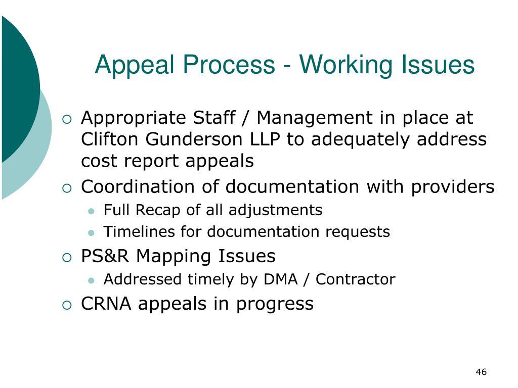 Appeal Process - Working Issues