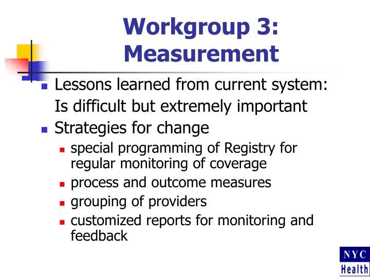 Workgroup 3:  Measurement
