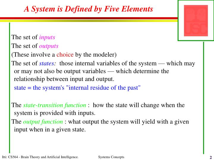 A system is defined by five elements