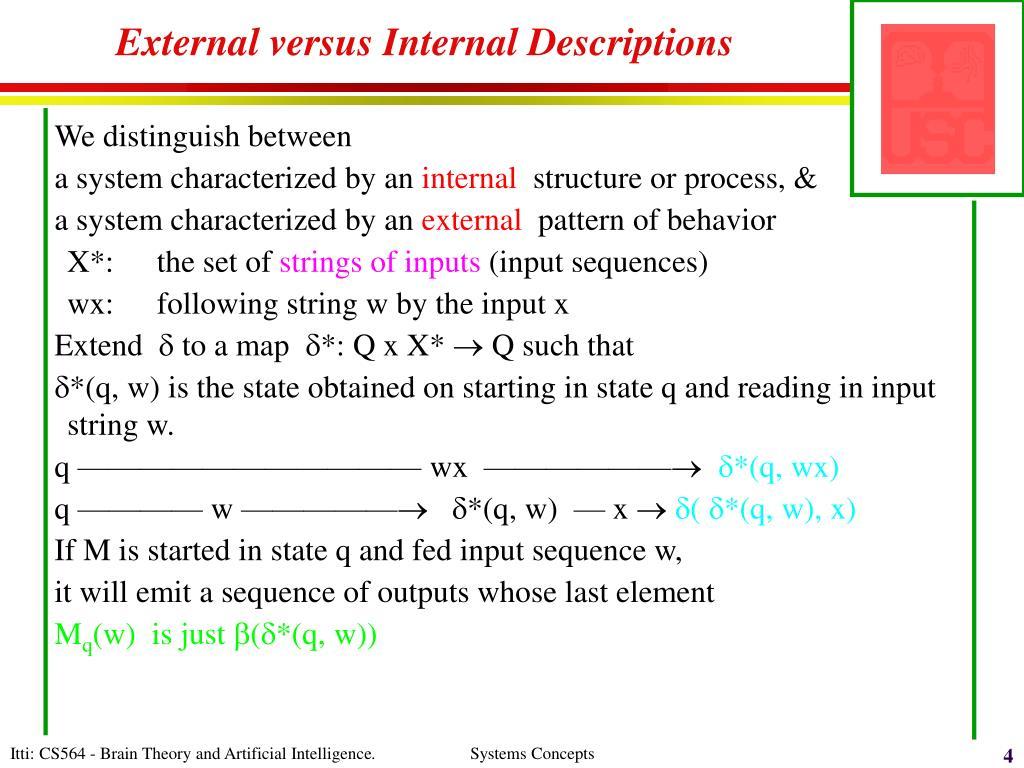 External versus Internal Descriptions