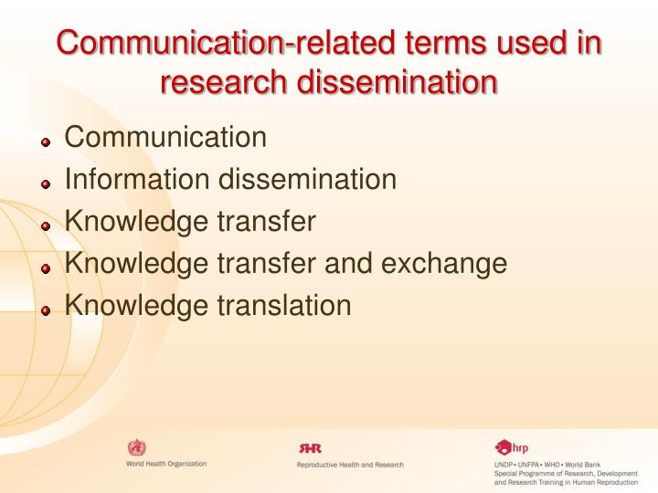 Communication-related terms used in research dissemination
