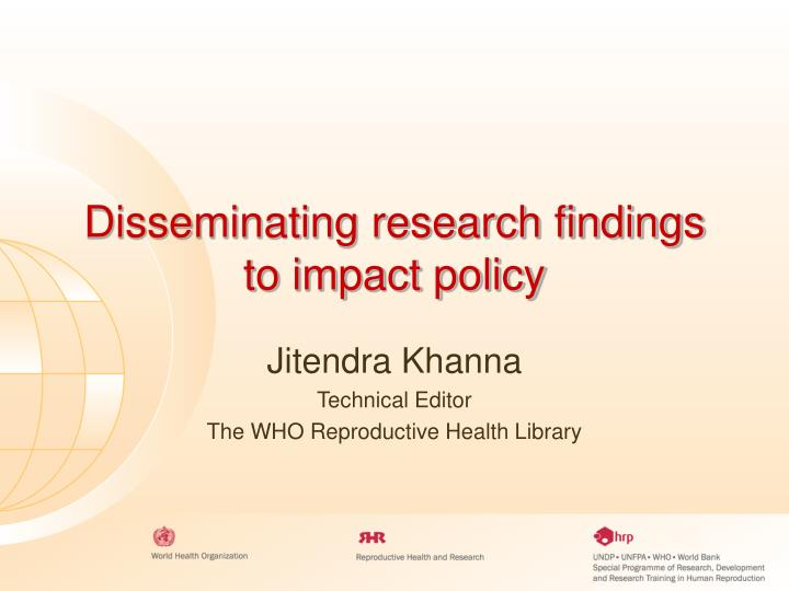 Disseminating research findings