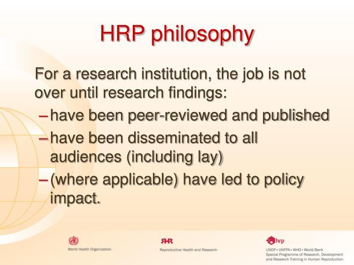 HRP philosophy