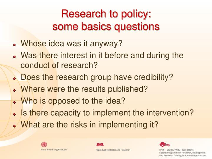 Research to policy: