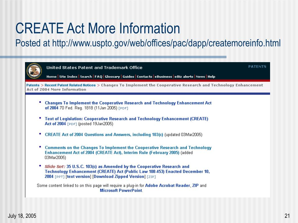 CREATE Act More Information