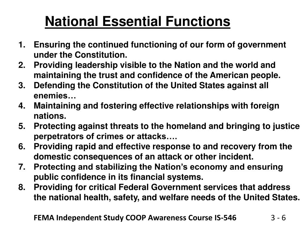 National Essential Functions