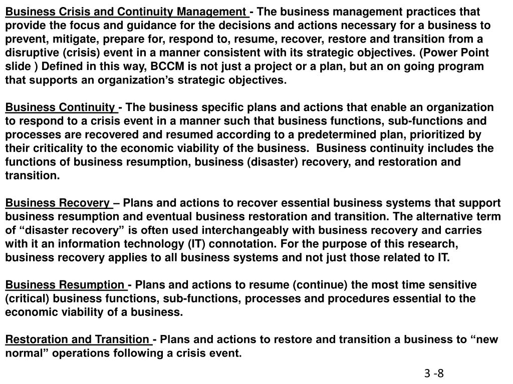 Business Crisis and Continuity Management