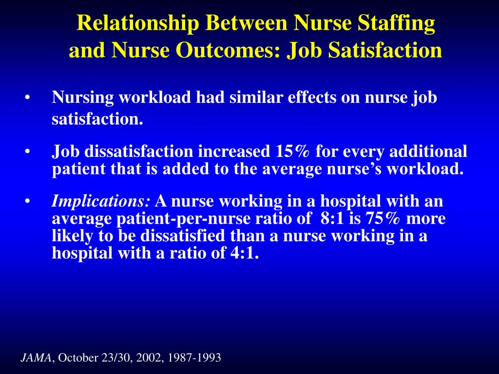 the effects of nurse staffing on Effects of a 7:1 patient-to-nurse staffing ratio on nurses' stressors, accumulated fatigue, and intention to continue working hiroko namba1), atsushi koike1), takeko wakabayashi1) abstract this study aimed at verifying the effects of differences in patient-to-nurse staffing ratios on nurses in total 868 nurses were.