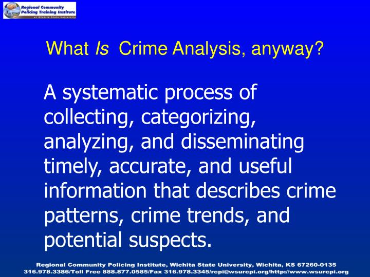 What is crime analysis anyway