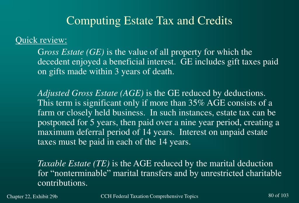 Computing Estate Tax and Credits
