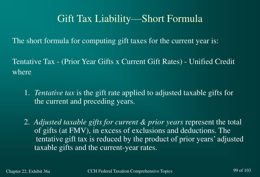 Gift Tax Liability—Short Formula
