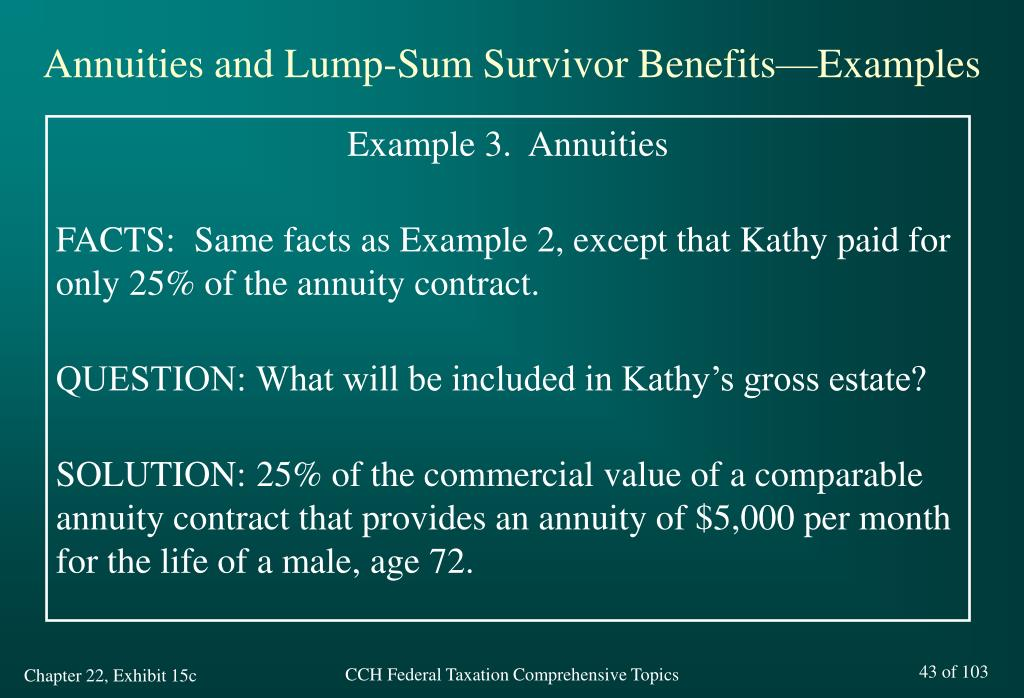 Annuities and Lump-Sum Survivor Benefits