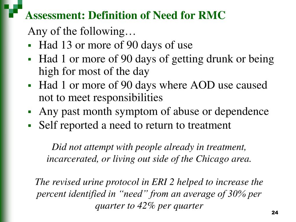 Assessment: Definition of Need for RMC