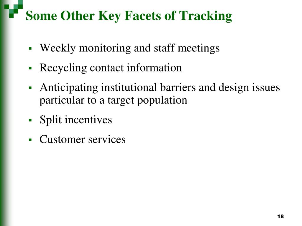 Some Other Key Facets of Tracking