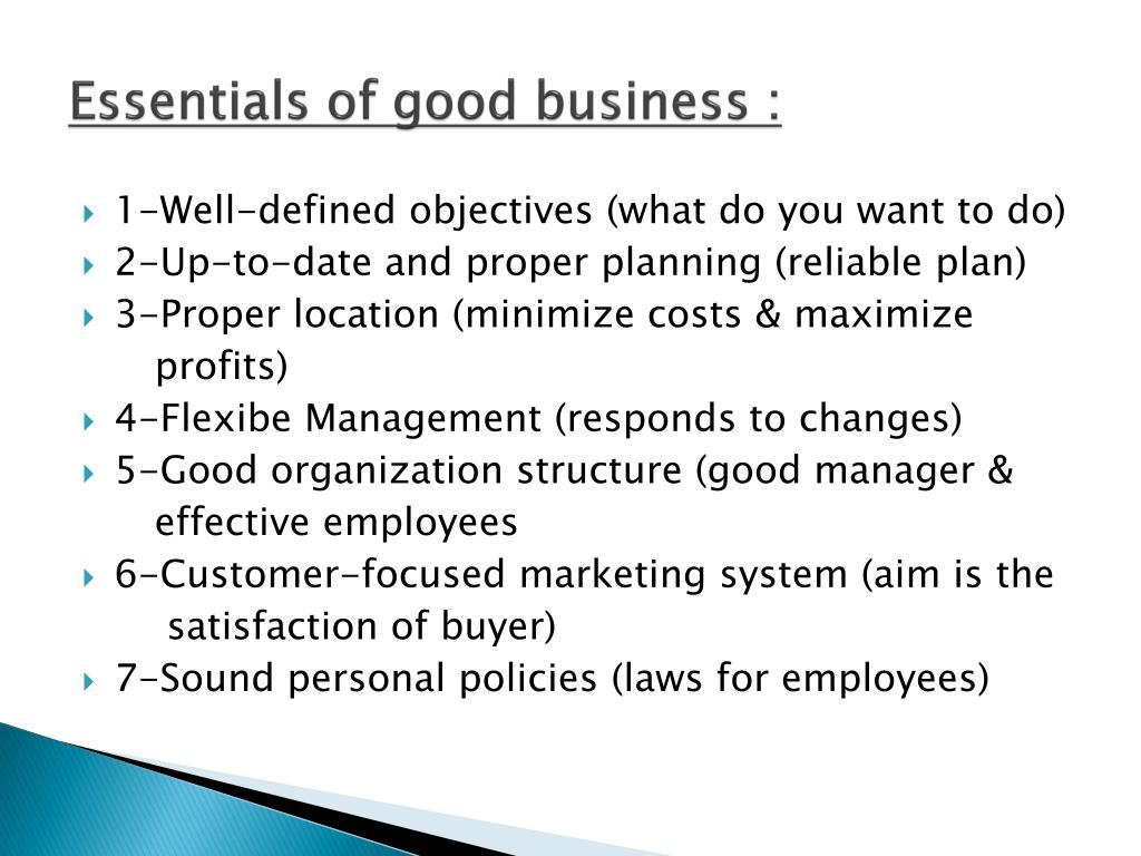 Essentials of good business :