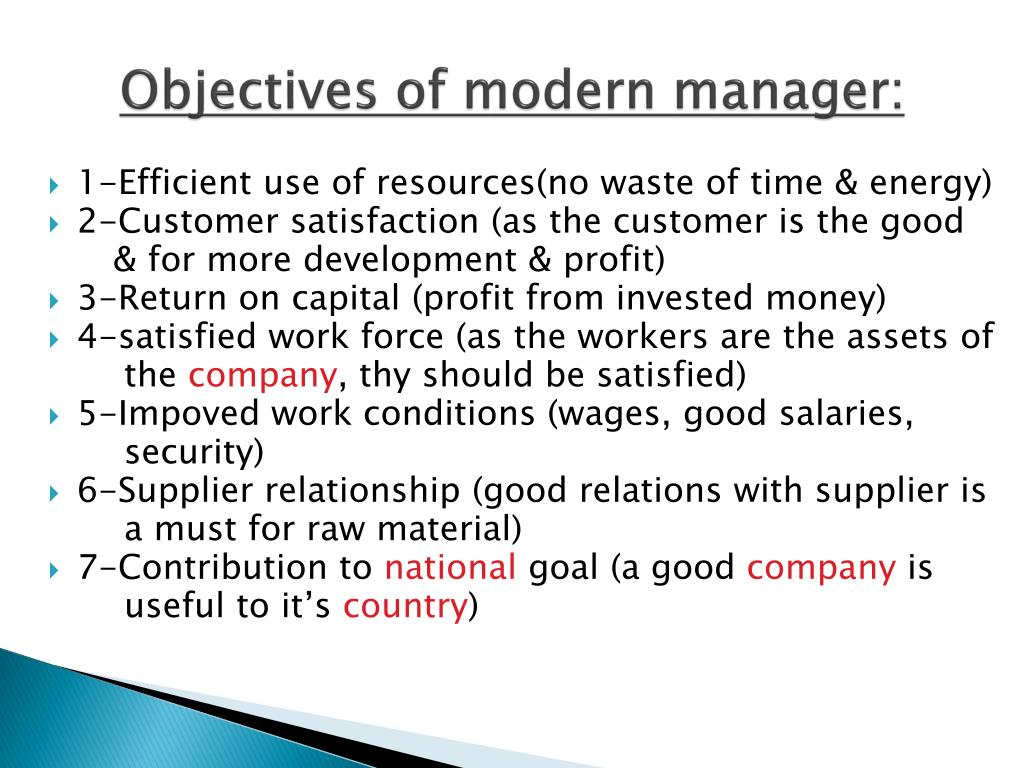 Objectives of modern manager: