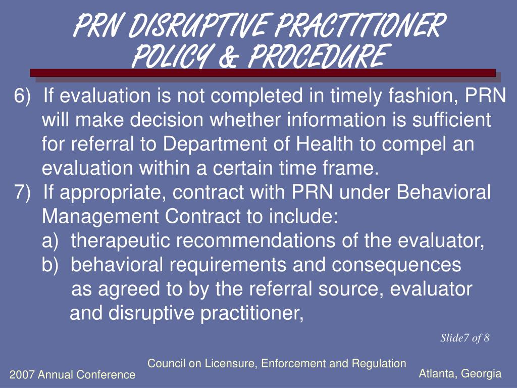 PRN DISRUPTIVE PRACTITIONER