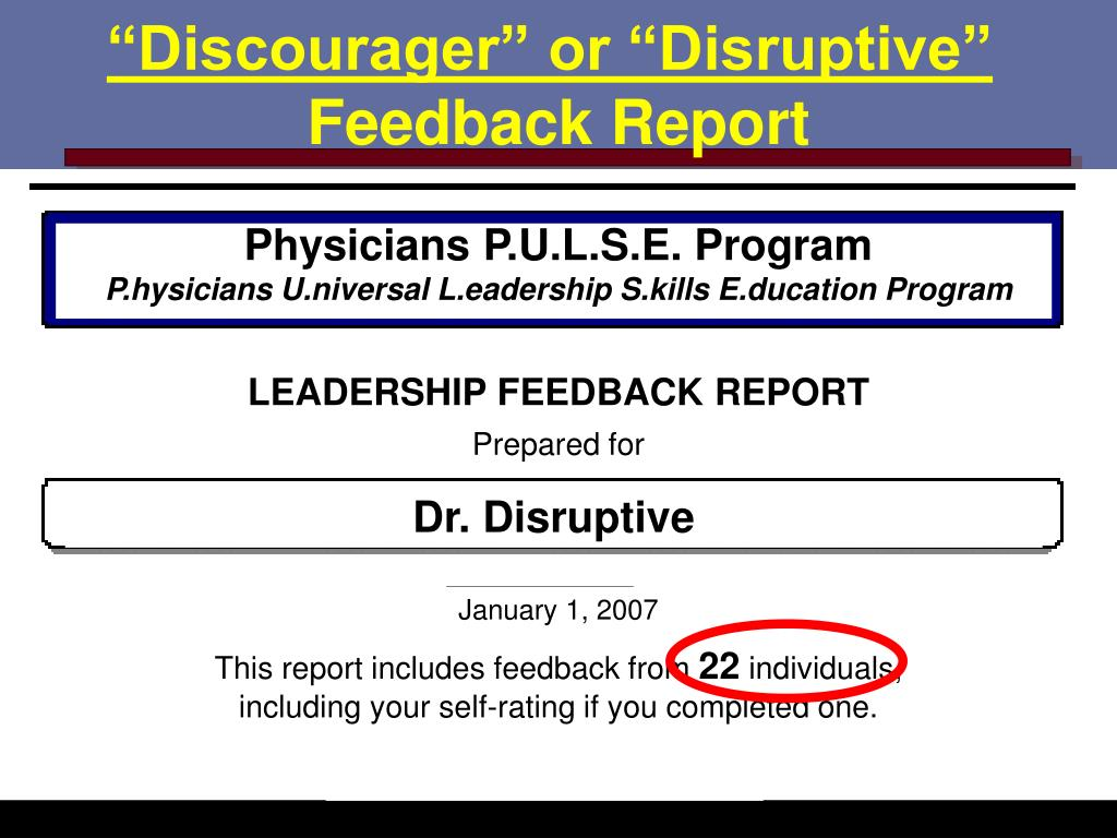 """""""Discourager"""" or """"Disruptive"""""""