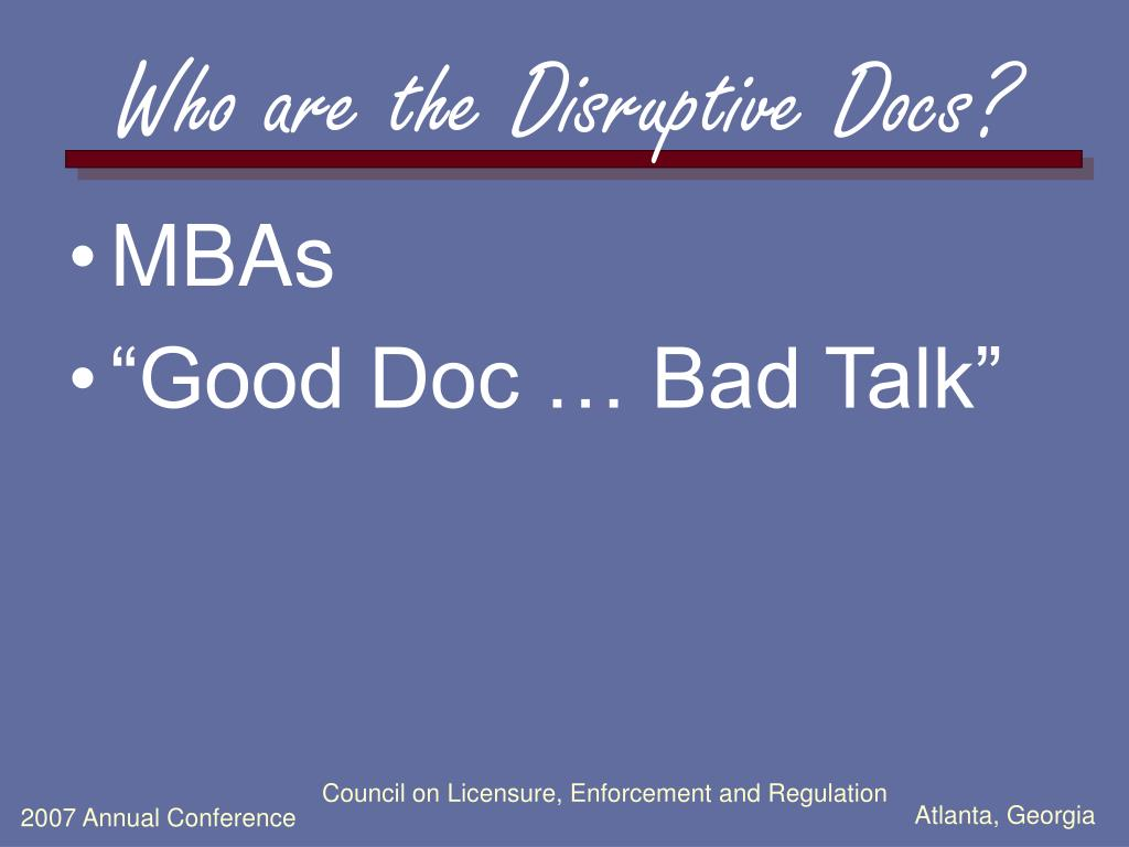 Who are the Disruptive Docs?