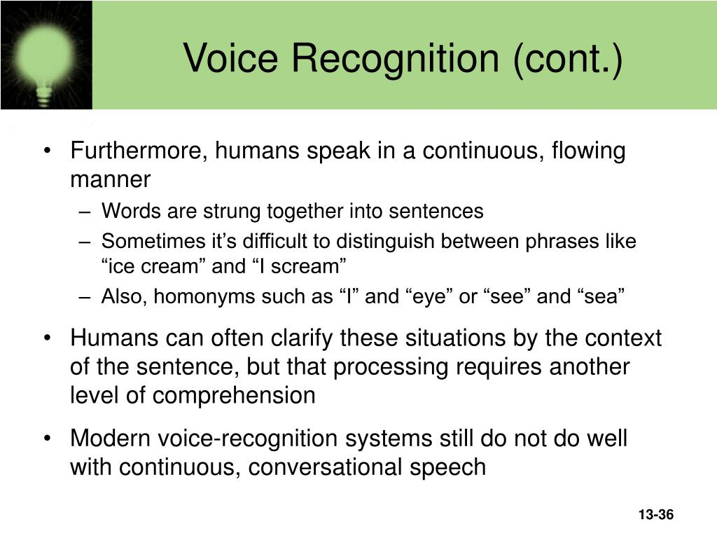 Voice Recognition (cont.)