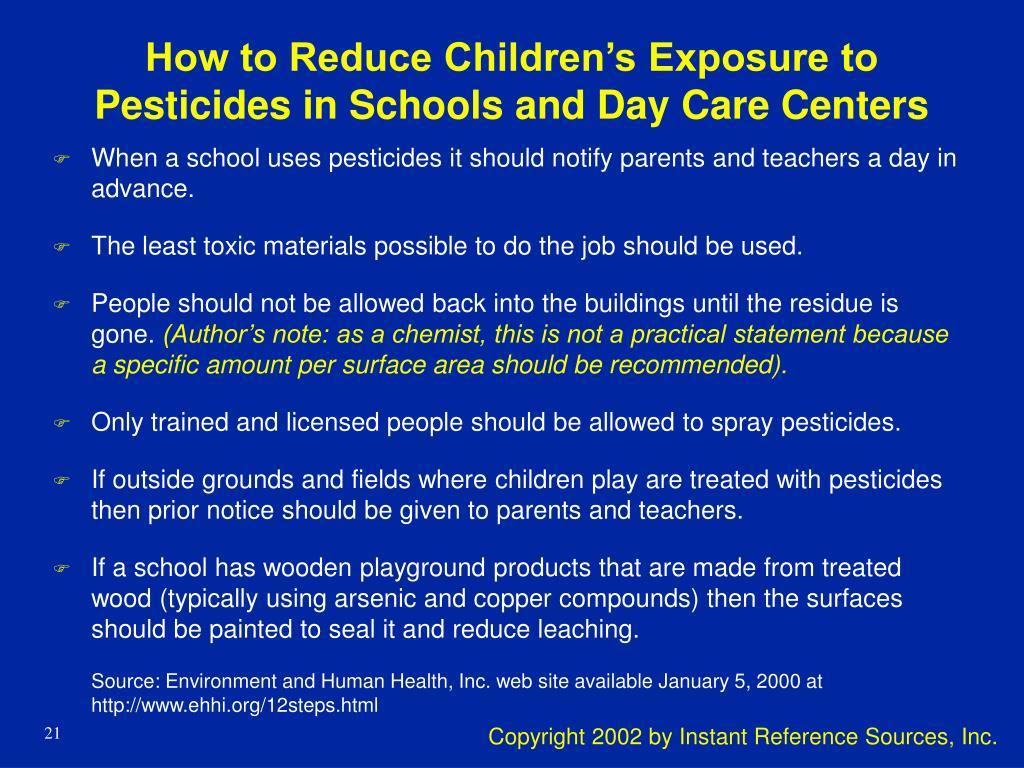 How to Reduce Children's Exposure to