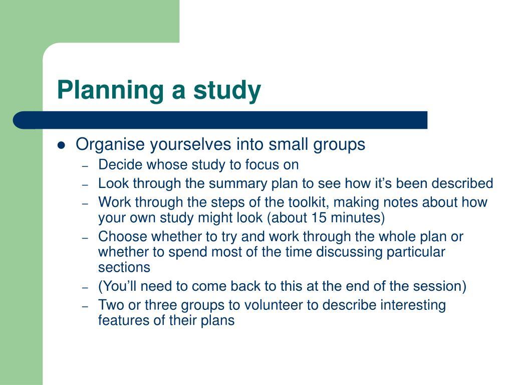 Planning a study