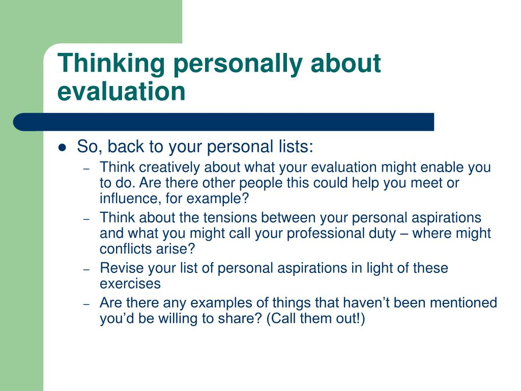 Thinking personally about evaluation