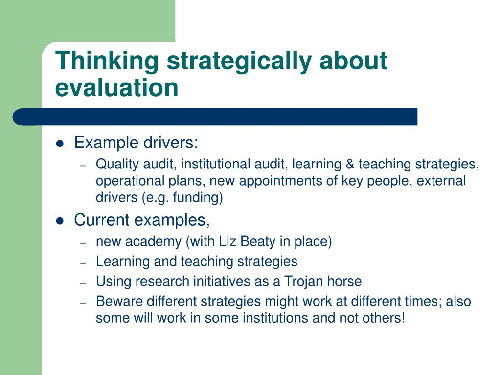 Thinking strategically about evaluation
