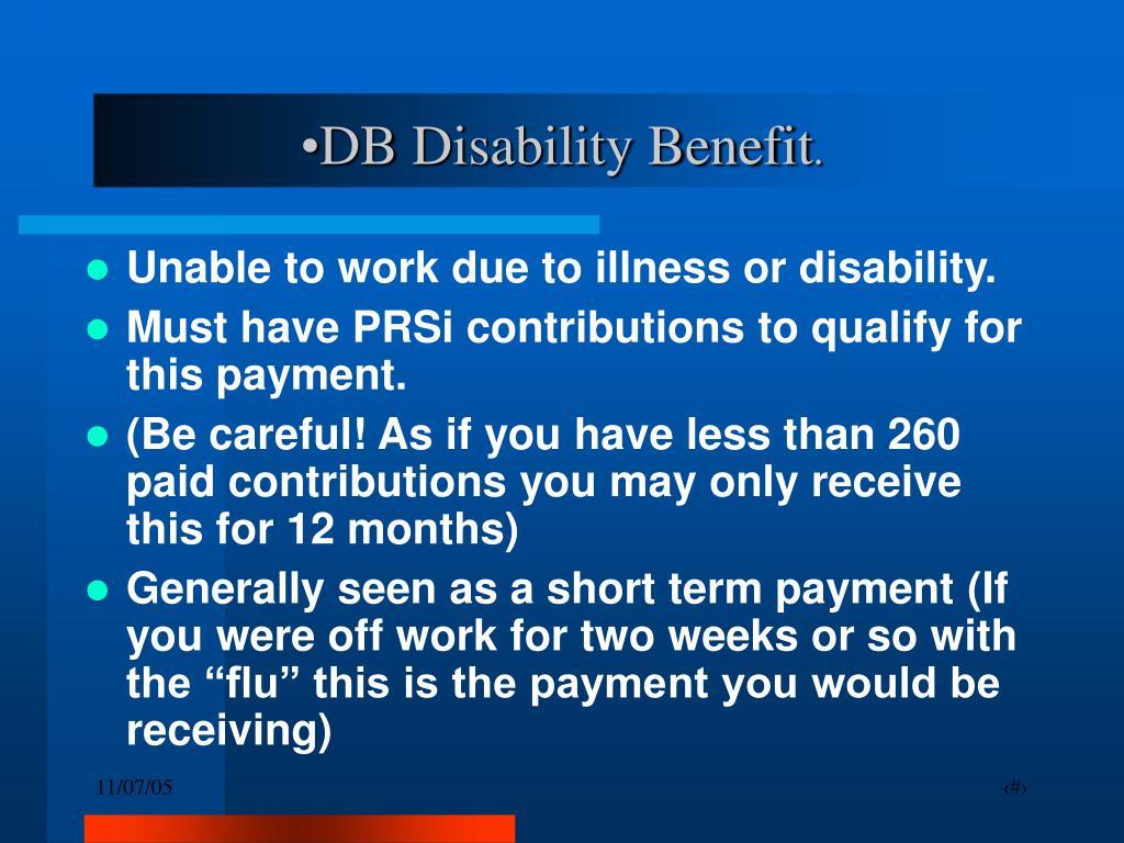 DB Disability Benefit