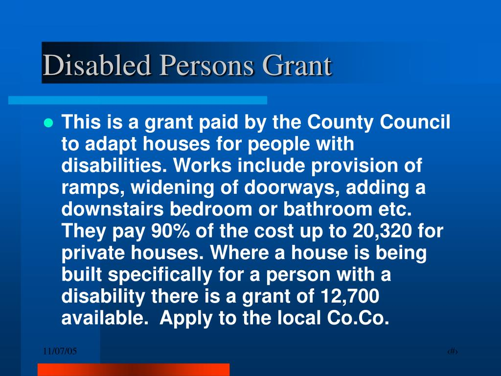 Disabled Persons Grant