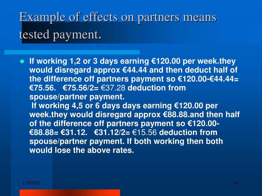 Example of effects on partners means tested payment