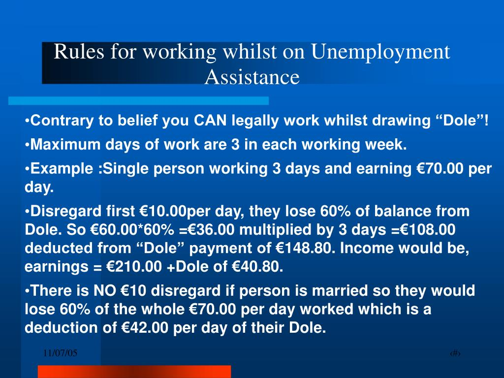Rules for working whilst on Unemployment Assistance
