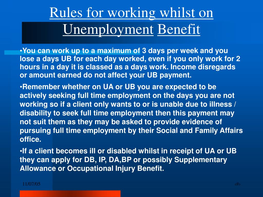 Rules for working whilst on Unemployment