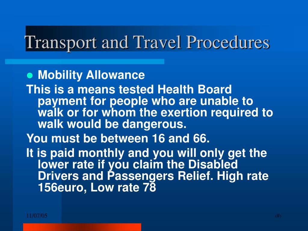 Transport and Travel Procedures