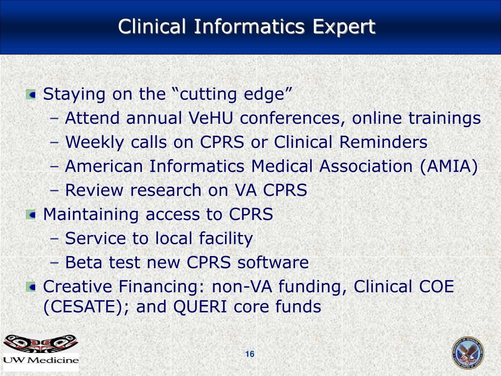 Clinical Informatics Expert