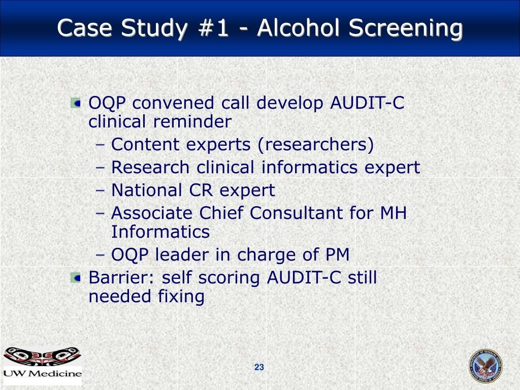 OQP convened call develop AUDIT-C  clinical reminder