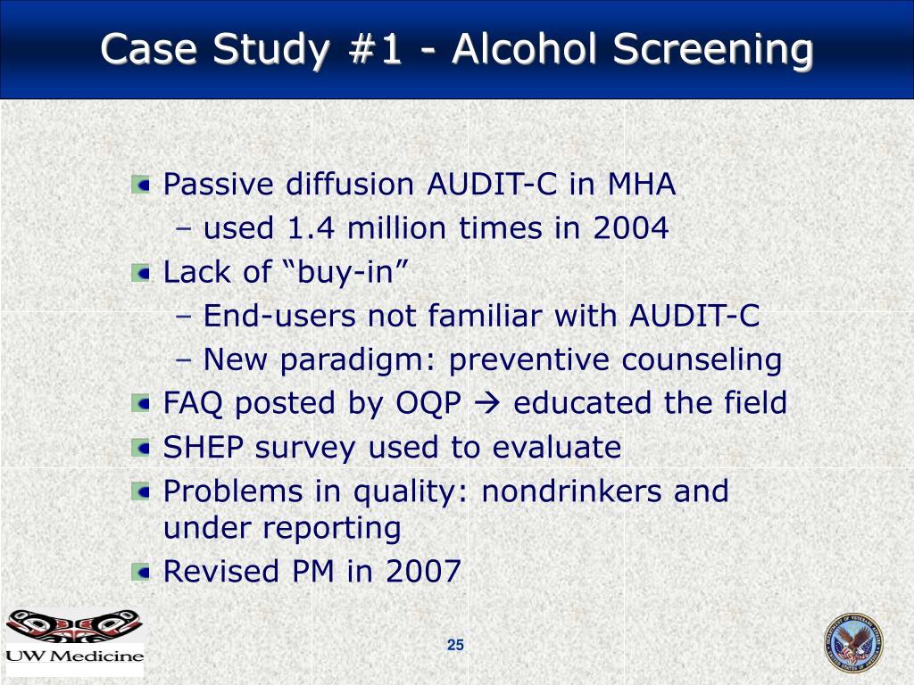 Passive diffusion AUDIT-C in MHA