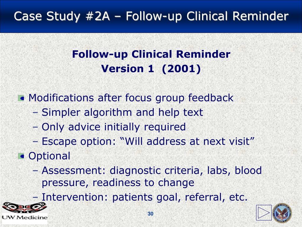 Follow-up Clinical Reminder