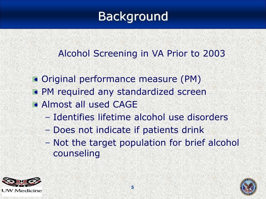 Alcohol Screening in VA Prior to 2003
