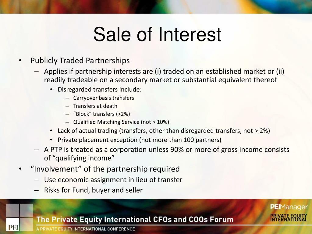 Sale of Interest