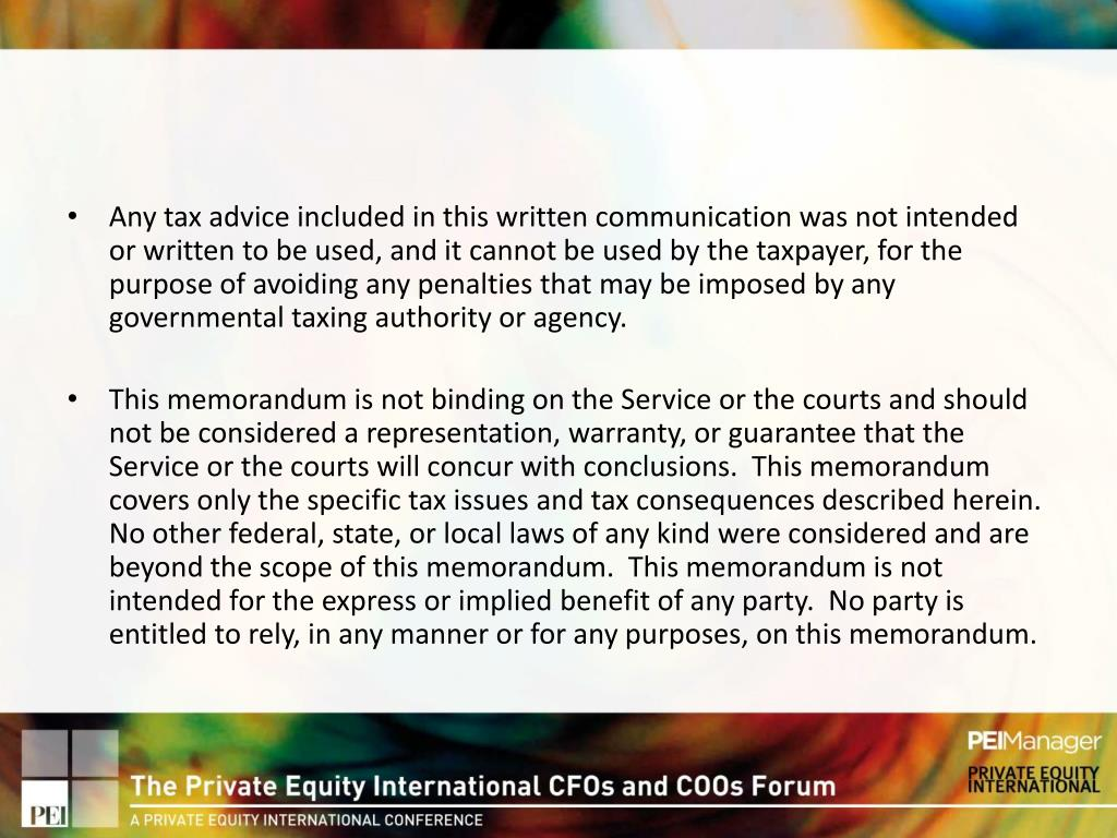 Any tax advice included in this written communication was not intended or written to be used, and it cannot be used by the taxpayer, for the purpose of avoiding any penalties that may be imposed by any governmental taxing authority or agency.