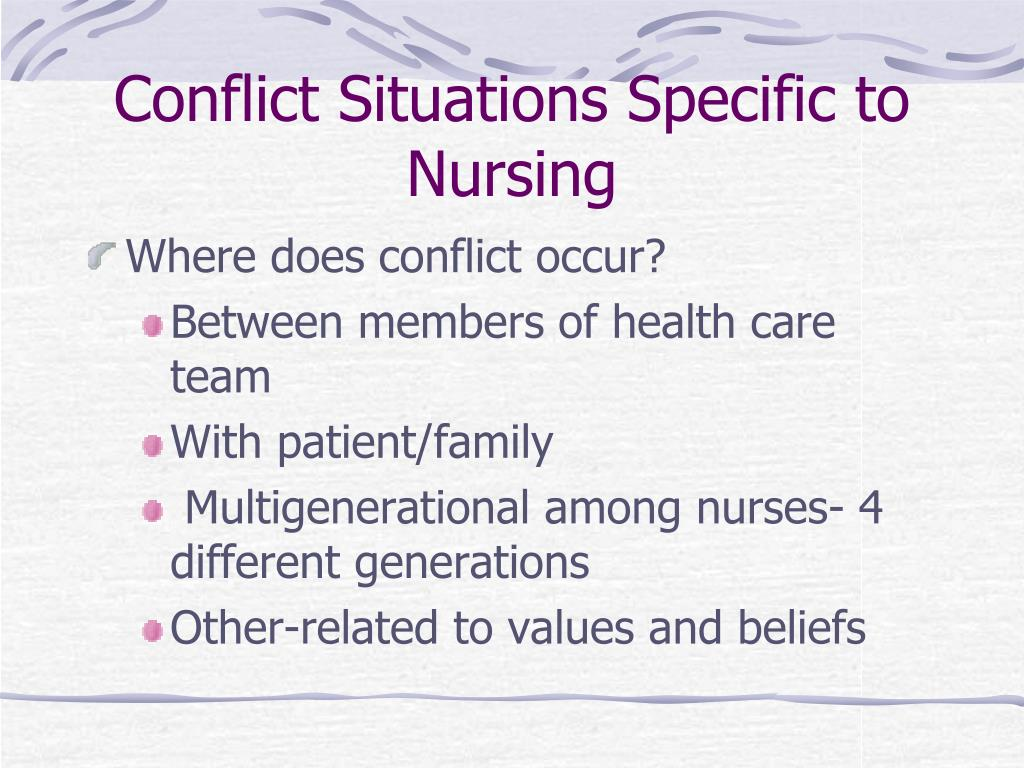 nurse conflict Transition from a direct caregiver to a nurse case manager role and the perceived levels of role ambiguity and role conflict primary practice setting(s): nurse case managers in acute care, postacute care, and managed care settings.