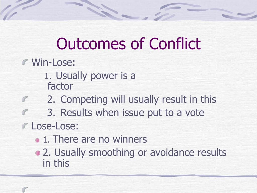 positive outcomes of conflict Managing groups and teams/conflict from wikibooks positive conflict vs negative conflict positive conflict positive conflict reduces the effects of conformity pressures and groupthink.
