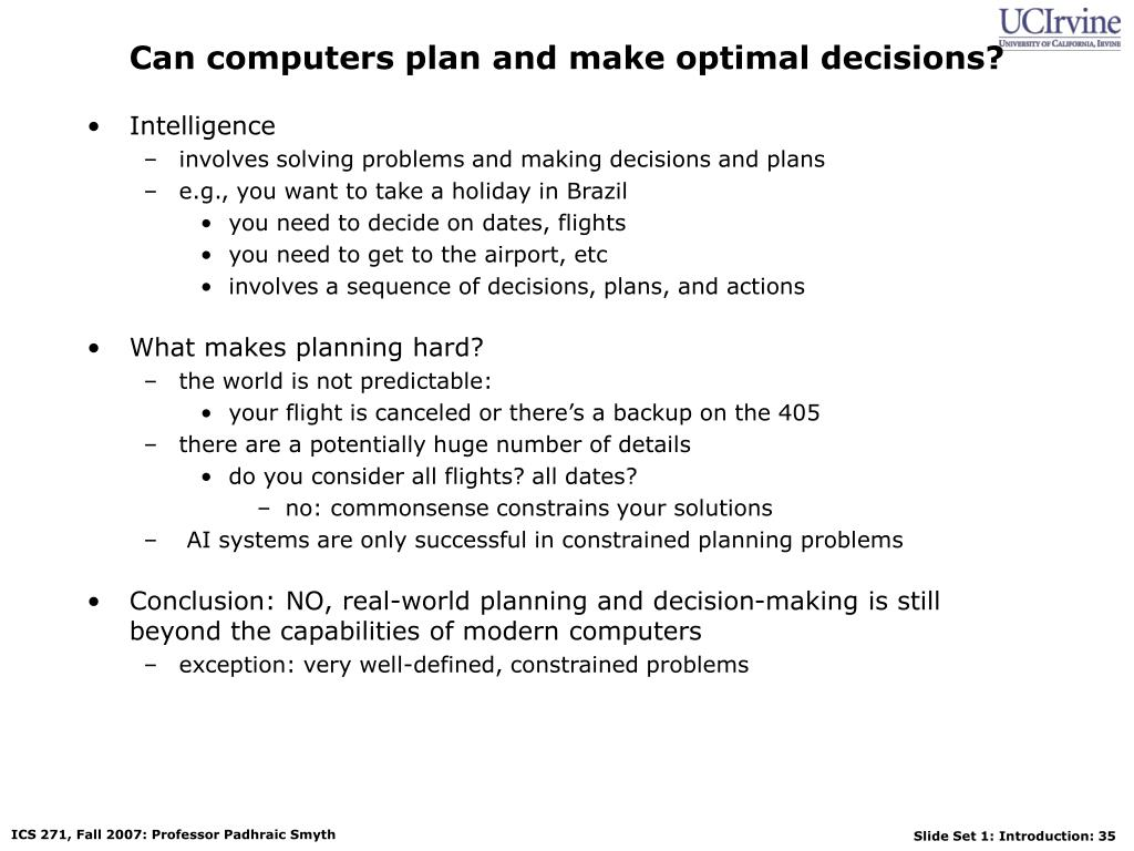 Can computers plan and make optimal decisions?